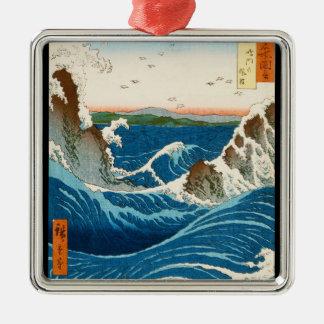 Mar japonés tradicional oriental fresco del adorno navideño cuadrado de metal