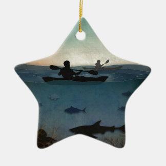 Mar Kayaking Adorno Navideño De Cerámica En Forma De Estrella