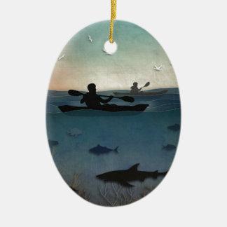 Mar Kayaking Adorno Navideño Ovalado De Cerámica