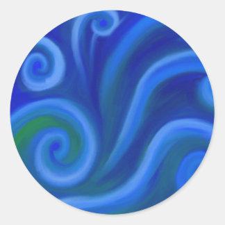 Mar ondulado etiquetas redondas