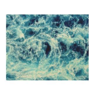 Mar que remolina impresiones en madera