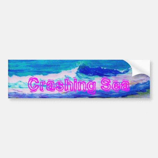 Mar que se estrella etiqueta de parachoque