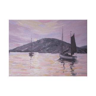 Mar rosado Scape de las reflexiones Impresión En Lienzo