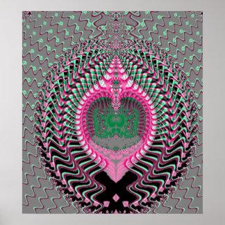 Mar rosado Shell del fractal Posters