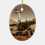 Mar rover space design Double-Sided oval ceramic christmas ornament