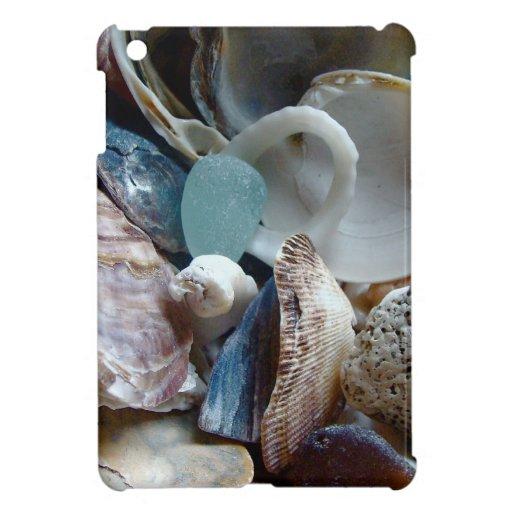 Mar Shell de cristal recogido iPad Mini Funda