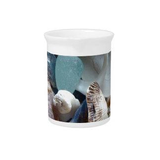 Mar Shell de cristal recogido Jarron