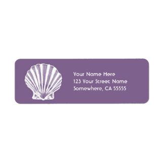 Mar Shell del remite Label//Purple Etiqueta De Remite