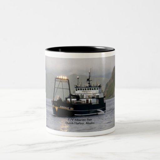Mar siberiano, barco pesquero del palangrero tazas de café