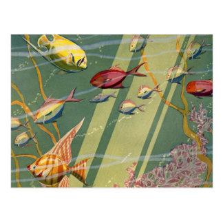 Mar submarino del océano de los pescados antiguos  tarjetas postales