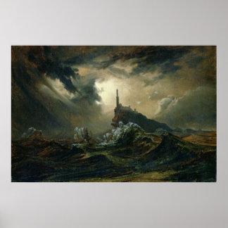 Mar tempestuoso con el faro póster