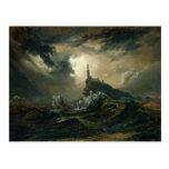 Mar tempestuoso con el faro tarjetas postales