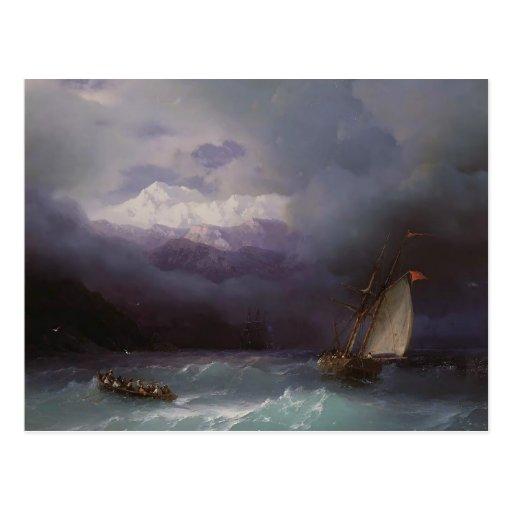 Mar tempestuoso de Ivan Aivazovsky- Postales