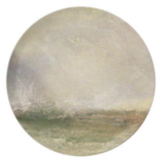 Mar tempestuoso que se rompe en una orilla, 1840-5 platos para fiestas