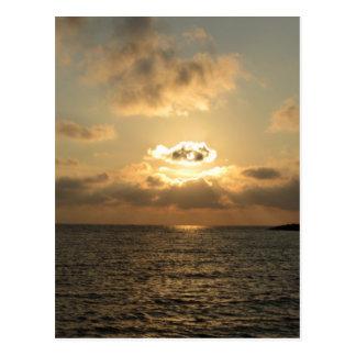 Mar tirreno, puesta del sol postal
