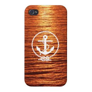 Mar tranquilo del ancla de la cuerda de la raya de iPhone 4/4S carcasas