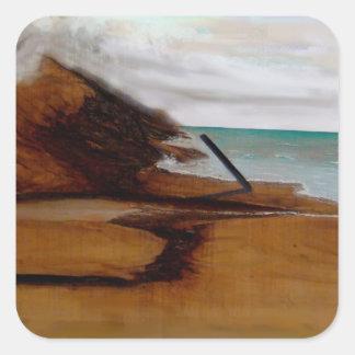 Mar y arena calcomanía cuadradas personalizada