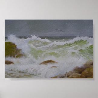 Mar y rocas tempestuosos póster