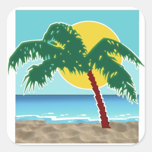 Mar y Sun de la palma Pegatina Cuadrada