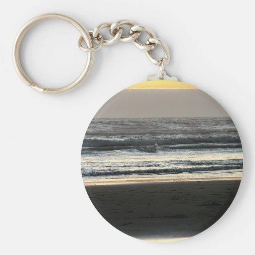 Mar y tierra del cielo llavero redondo tipo pin