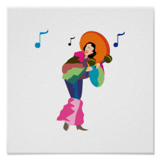 maraca player female dressed up.png poster