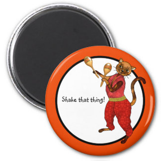 Maracas and a Latin Cat Say to Shake It 2 Inch Round Magnet