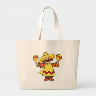 Maracas Musician Man Cartoon Character Large Tote Bag