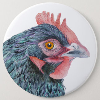 Maran Hen Chicken Bird Watercolor Farm Yard bird Pinback Button