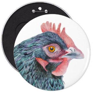 Maran Hen Chicken Bird Watercolor Farm Yard bird Pinback Button