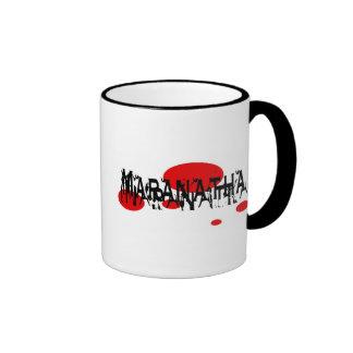 Maranatha 2 rond rouge coffee mug