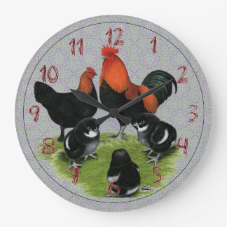 Marans Black Copper Chicken Family Large Clock