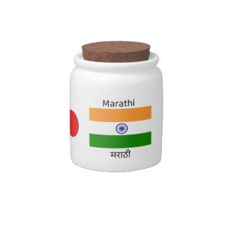 Marathi Language And India Flag Design Candy Jar
