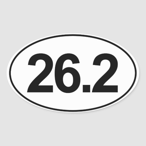 Marathon 26.2 Miles Oval Sticker (White)