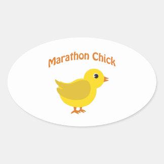 Marathon Chick Oval Sticker
