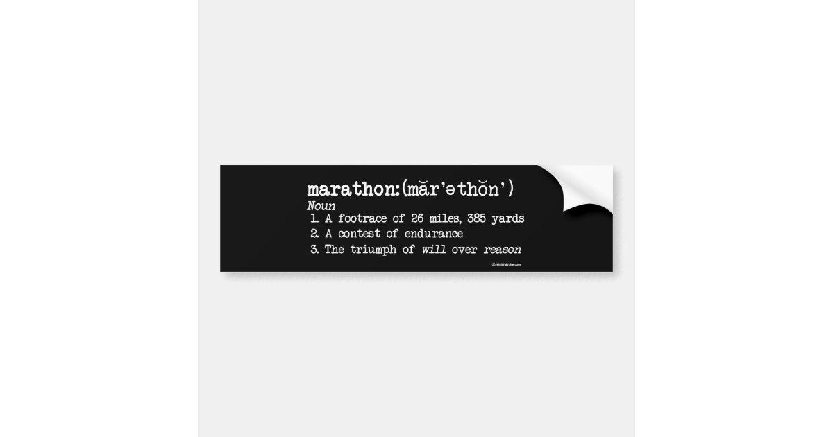 Marathon Definition Bumper Sticker Zazzle