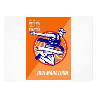 Marathon Finish What You Started Retro Poster Custom Invitations