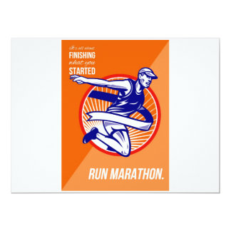 Marathon Finish What You Started Retro Poster 6.5x8.75 Paper Invitation Card