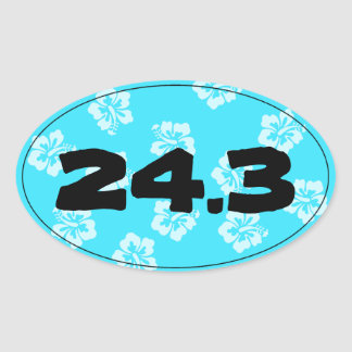 Marathon Run Finish Time Blue Hibiscus - Oval Sticker