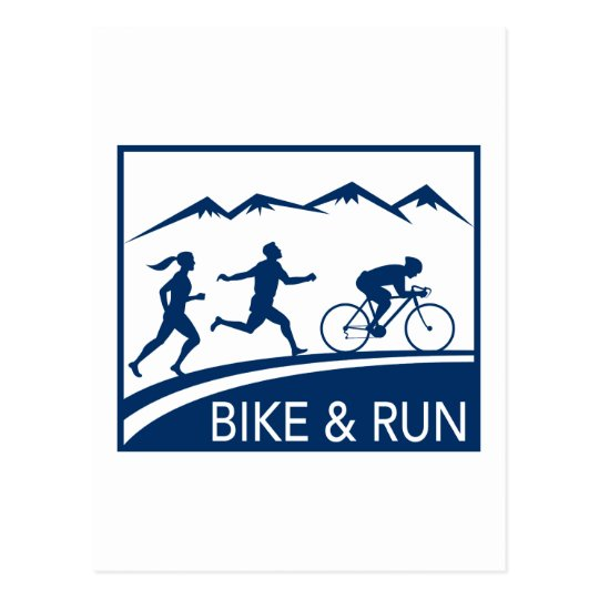 marathon runner bike cycle run race postcard