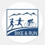 marathon runner bike cycle run race classic round sticker