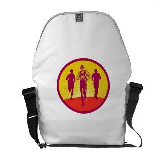 Marathon Runner Circle Woodcut Messenger Bag
