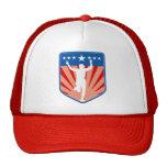 marathon runner finish shield stars trucker hat