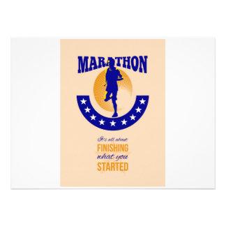 Marathon Runner Finishing Retro Poster Personalized Announcement