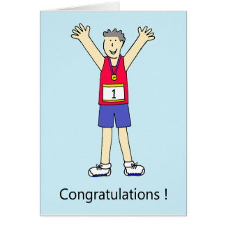 Marathon runner male congratulations. card
