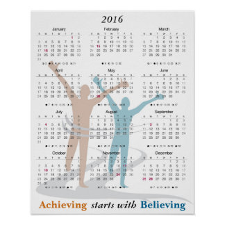 Marathon Runner Motivational 2016 Calendar Poster