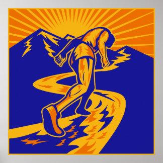 Marathon runner or jogger on mountain road poster