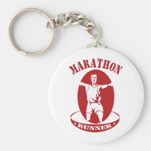 marathon runner run race front keychain