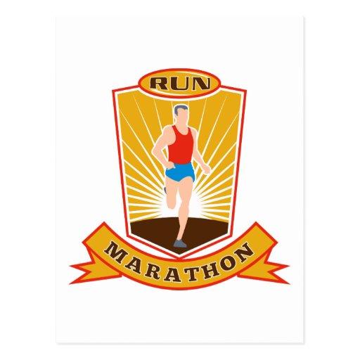 marathon runner run running race shield postcard