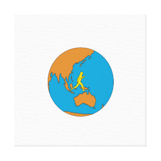 Marathon Runner Running Around World Asia Pacific Canvas Print