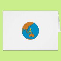 Marathon Runner Running Around World Asia Pacific Card